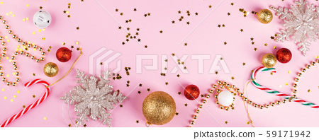 Christmas flat lay frame banner on pink paper 59171942