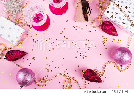 Christmas pink ball flat lay frame and tableware 59171949