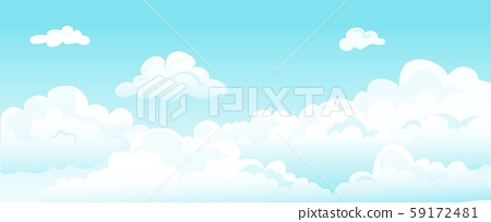 Cartoon Blue Sky And Curly Clouds Vector White Stock Illustration 59172481 Pixta