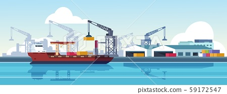 Marine port. Shipping transportation and ocean logistic flat banner, cargo ships and freight vessels 59172547