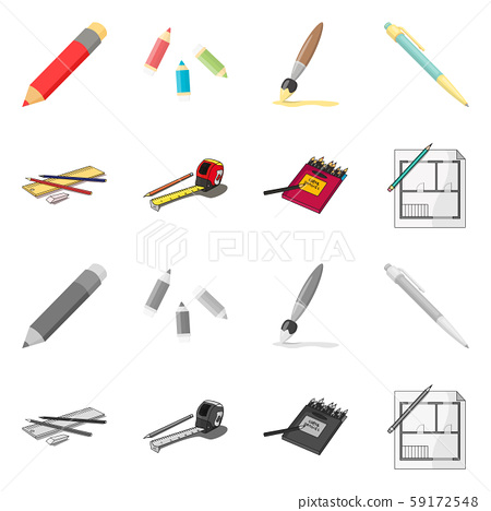 Isolated object of pencil and sharpen sign. Set of pencil and color stock symbol for web. 59172548