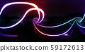 鮮豔細緻的抽象霓虹燈曲線全景背景(高分辨率 3D CG 渲染∕著色插圖) 59172613