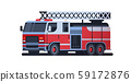 fire rescue red truck firefighting machine emergency service car extinguishing fire concept flat 59172876