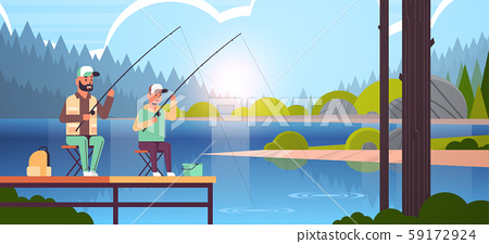 father and son fishing together from pier man with little boy using rods happy family weekend fisher 59172924