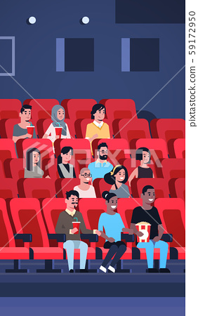 people group watching movie sitting in cinema with popcorn and cola mix race men women having fun 59172950