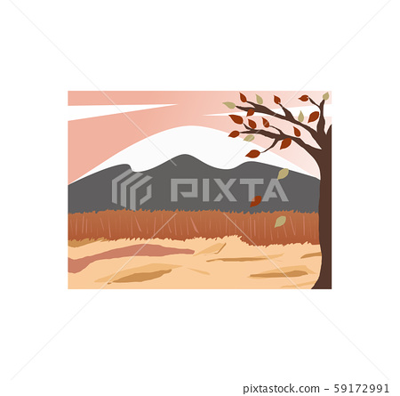 Autumn Mountain top with snow leaves falling tree brown land 59172991