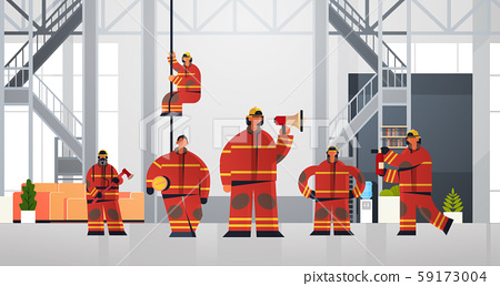 firemen team standing together firefighters wearing uniform and helmet firefighting emergency 59173004