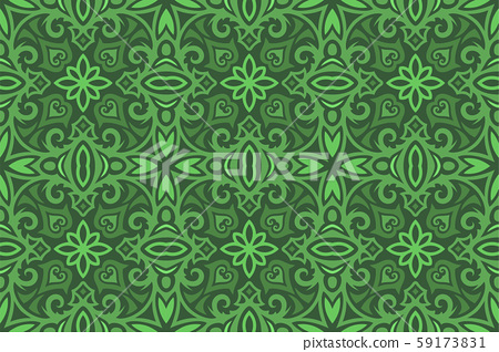 Vintage art with green medieval seamless pattern 59173831