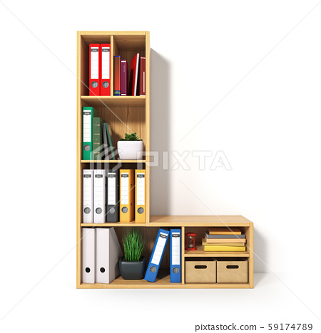 Letter L. Alphabet in the form of shelves with 59174789