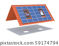 Solar panel on ceramic tile roof with windows 59174794