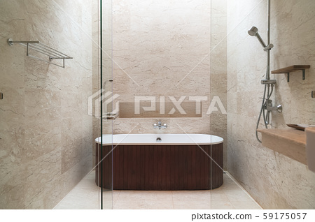 Brown bathroom interior with a brown mosaic, a 59175057