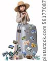 The little girl is ready to travel to New York 59177087