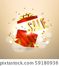 Golden sale inside open red gift box. Sale and promotion banner concept. 59180936