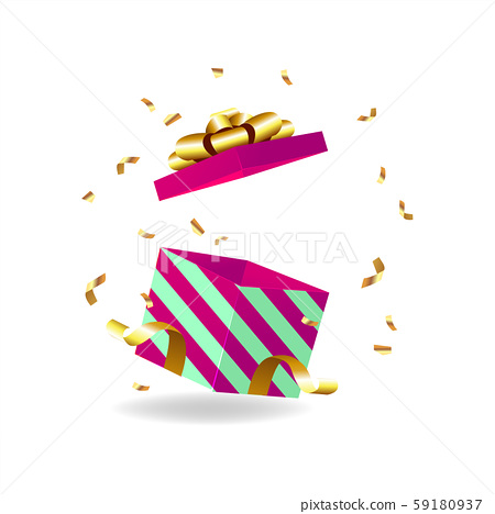 Opened gift box with golden bow and gold ribbon. 59180937