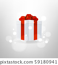 White Gift Box with Red Ribbon and Bow on Background. 59180941