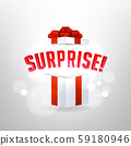 Surprise inside open gift box design template. Birthday surprise and Christmas present concept. 59180946