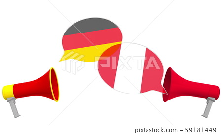 Speech bubbles with flags of Peru and Germany. Intercultural dialogue or international talks related 59181449