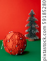 vintage red christams ball  and  xmas tree 59185280