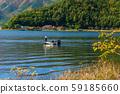 川口湖釣魚圖像巴斯釣魚湖秋季 59185660