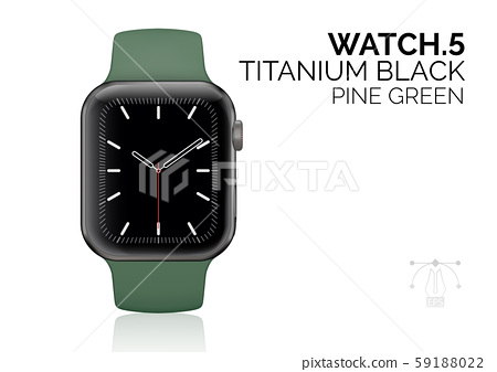 Smart watch with pine green bracelet realistic vector illustration 59188022