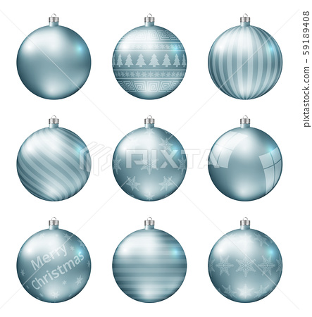 Pastel light blue christmas balls isolated on white background. Photorealistic high quality vector  59189408