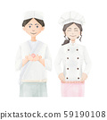 Japanese confectioner and pastry chef upper body illustration 59190108
