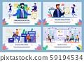 Set Vector Illustration Online Education, Flat. 59194534