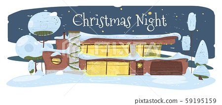 Christmas Night Greeting Card. Suburban Cozy House 59195159