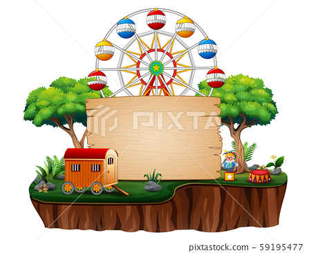 Amusement park with the ferris wheel on nature 59195477