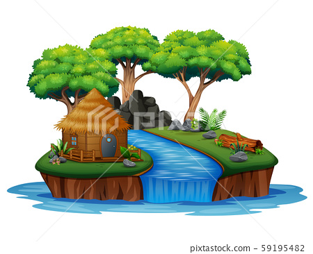 Island with hut and waterfall illustration 59195482