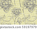 Wild rose flowers drawing and sketch illustrations. Decorative floral set for fabric, textile 59197979