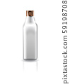 Blank transparent cosmetic square bottle with copper cap lid for beauty product packaging. 59198708