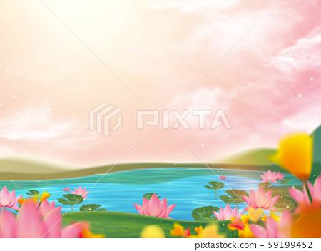 Beautiful lotus pond scenery 59199452