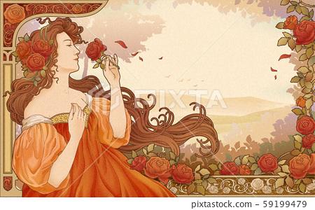 Mucha goddess holding roses 59199479