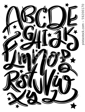 Hand drawn typeface set . Brush painted characters 59200170