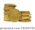 3D Rendering Golden Bitcoins isolated on white background 59200740