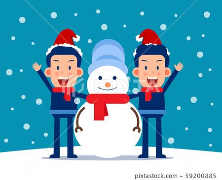 Cute person and a snowman. Winter season concept. 59200885