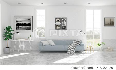 Scandinavian living room  interior design, light blue sofa on wood floor ,white room,3Drender 59202170