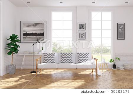 Scandinavian living room  interior design, white sofa on wood floor ,white room,3Drender 59202172