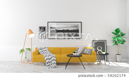 Scandinavian  style , living room  interior  concept ,yellow  sofa on wood floor and white brick wall,3Drender 59202174