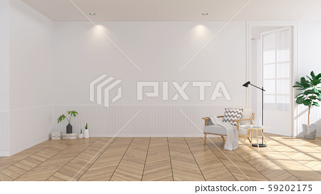 Modern scandinavian  style , living room  interior  concept,  white armchair on wood floor with white wall,3Drender 59202175