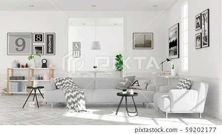 Modern scandinavian  style , living room  interior  concept,  gray sofa on wood floor with white wall,3D render 59202177