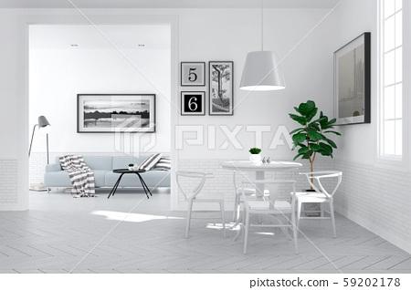 Modern scandinavian interior  style ,Dining Room Decorating  design concept,,3Drender 59202178