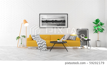 Scandinavian  style , living room  interior  concept ,yellow  sofa on wood floor and white brick wall,3Drender 59202179