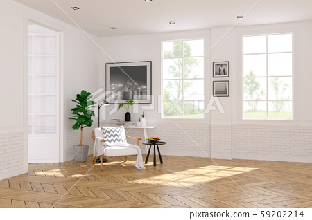 Modern scandinavian  style , living room  interior  concept,   white armchair  on wood floor with white wall,3Drender 59202214