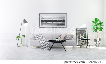 Modern scandinavian  style , living room  interior  concept,  gray sofa on wood floor with white wall,3D render 59202215