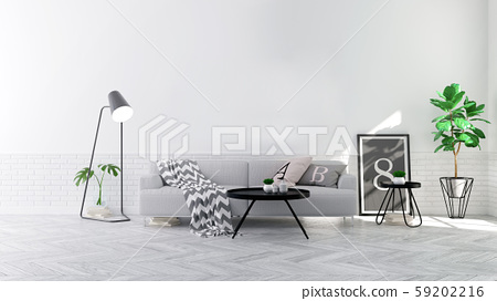 Modern scandinavian  style , living room  interior  concept,  gray sofa on wood floor with white wall,3D render 59202216
