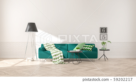 Modern interior of living room with  green sofa on wood flooring and white wall .emptry room ,3d rendering 59202217