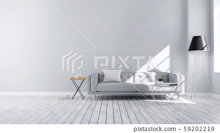 Minimalist  Modern style , living room  interior concept design,  gray sofa and black lamp on wood floor with gray wall,3D render 59202219