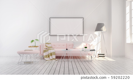 Minimalist  Modern style , living room  interior concept design,  pink sofa and gray lamp on wood floor with white wall,3D render 59202220